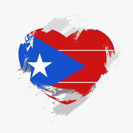 Flag of Puerto Rico isolated on grunge heart. Vector illustration