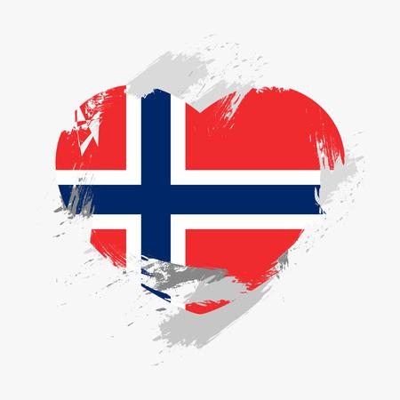 norway flag: Flag of Norway isolated on grunge heart. Vector illustration Illustration