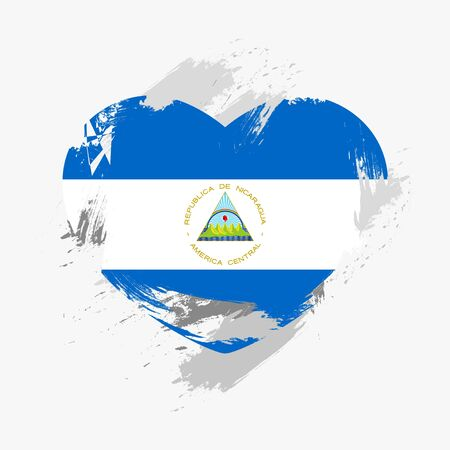 grunge heart: Flag of Nicaragua isolated on grunge heart. Vector illustration Illustration