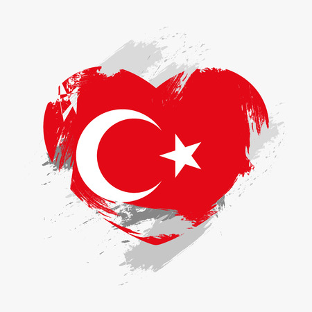 grunge heart: Flag of Turkey isolated on grunge heart. Vector illustration