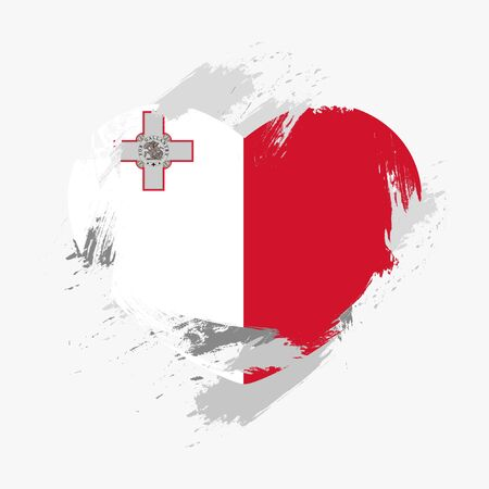 malta: Flag of Malta isolated on grunge heart. Vector illustration