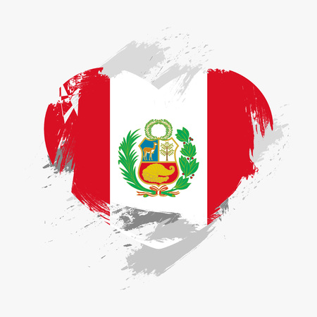 grunge heart: Flag of Peru isolated on grunge heart. Vector illustration Illustration