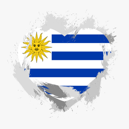grunge heart: Flag of Uruguay isolated on grunge heart. Vector illustration Illustration