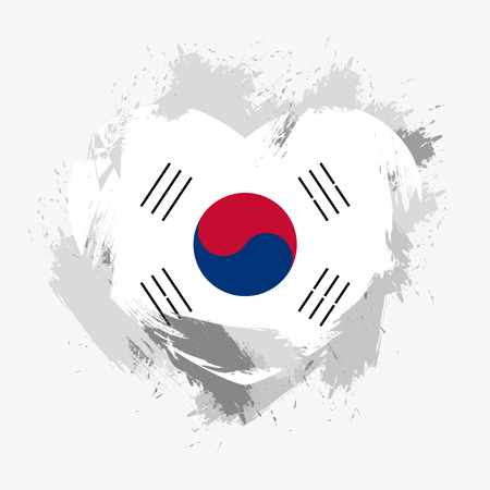 grunge heart: Flag of South Korea isolated on grunge heart. Vector illustration