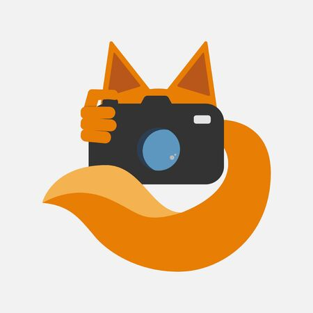 Photographer logotype concept. Fox with photo camera, Flat design. Vector illustration Ilustração