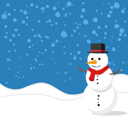Christmas background. Snowman in snow. Winter. Vector illustration Illustration