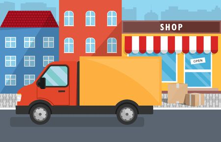 Flat vector illustration of delivery service for store. Truck, Boxes with goods. Illustration