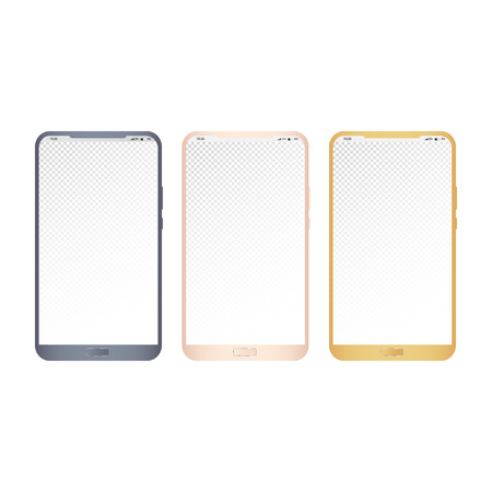 The three vector smartphones in dark blue, pink rose and gold color isolated on white background. The transparent copy space screen