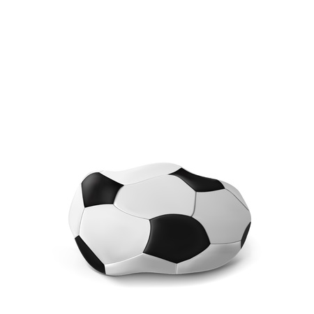 Realistic deflated football, soccer ball isolated on white background. Vector illustration of the deflated ball. Classic design Vector Illustration
