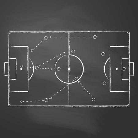 Mit Kreide gezeichnet das Fußballfeld Markup und das taktische Schema mit einem Teamspieler und Strategiepfeilen auf schwarz geriebener Tafel. Vektorillustration eines taktischen Schemas des Fußballspiels