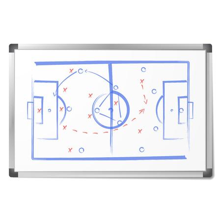 Das Fußball-Taktikschema wurde mit Markern auf dem Whiteboard gezeichnet. Taktisches Fußballbrett lokalisiert auf weißem Hintergrund. Trainerlehre und -analyse. Vektor-Illustration