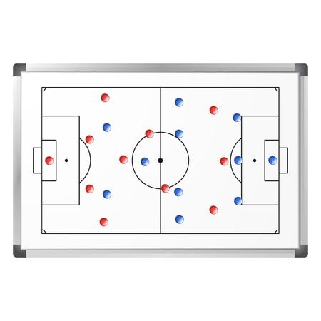 Taktisches Schema des Fußballspiels auf dem Whiteboard mit blauen und roten Magneten. Fußballplatz-Markup auf der Markierungstafel lokalisiert auf weißem Hintergrund. Analyseschema für Fußballspiele. Vektor-Illustration Vektorgrafik