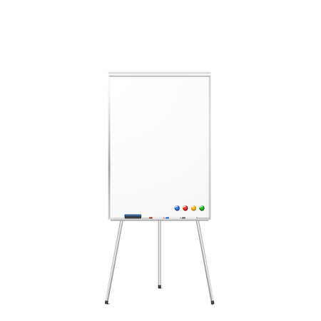 Blank magnetic tripod dry erase whiteboard isolated on white background. Realistic tripod flipchart with magnets, eraser, and markers. Vector illustration.