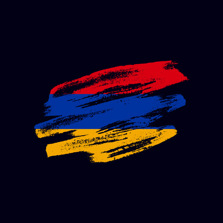 Grunge textured Armenian flag. Vector brush painted flag of Republic of Armenia isolated on dark blue background. Frayed and scratched the national symbol of the European country Illustration