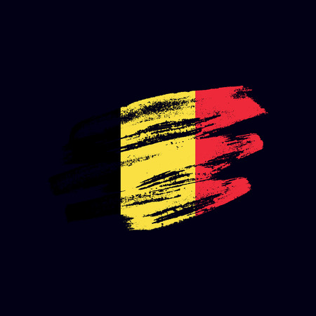 Grunge textured Belgian flag. Vector brush painted flag of Kingdom of Belgium isolated on dark blue background. Frayed and scratched the national symbol of the European country 向量圖像