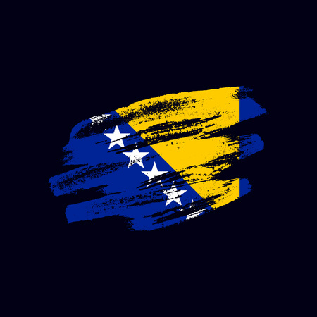 Grunge textured Bosnian flag. Vector brush painted flag of Bosnia and Herzegovina isolated on dark blue background. Frayed and scratched the national symbol of the European country