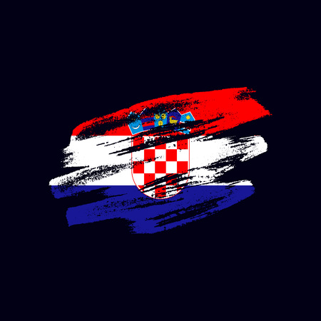 Grunge textured Croatian flag. Vector brush painted flag of Republic of Croatia isolated on dark blue background. Frayed and scratched the national symbol of the European country