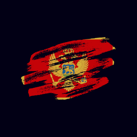 Grunge textured Montenegrin flag. Vector brush painted flag of Montenegro isolated on dark blue background. Frayed and scratched the national symbol of the European country 向量圖像