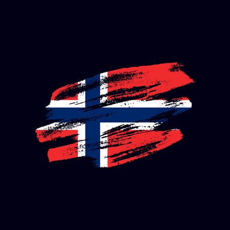 Grunge textured Norwegian flag. Vector brush painted flag of Kingdom of Norway isolated on dark blue background. Frayed and scratched the national symbol of the European country