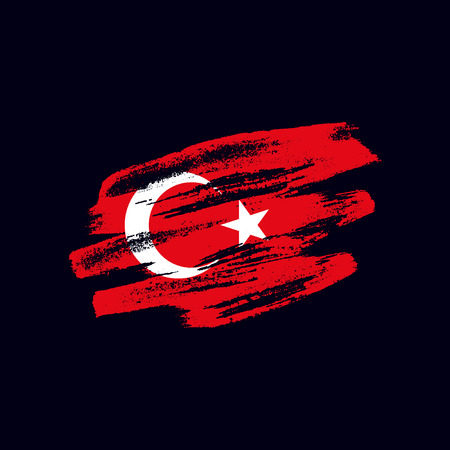 Grunge textured Turkish flag. Vector brush painted flag of Republic of Turkey isolated on dark blue background. Frayed and scratched the national symbol of the European country