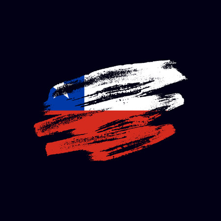 Grunge textured Chilean flag. Vector brush painted flag of Republic of Chile isolated on dark blue background. Frayed and scratched the national symbol of the  South America country