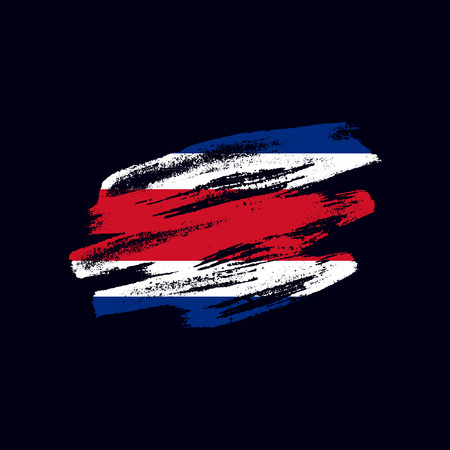 Grunge textured Costa Rican flag. Vector brush painted flag of Republic of Costa Rica isolated on dark blue background. Frayed and scratched the national symbol of the Central America country 向量圖像