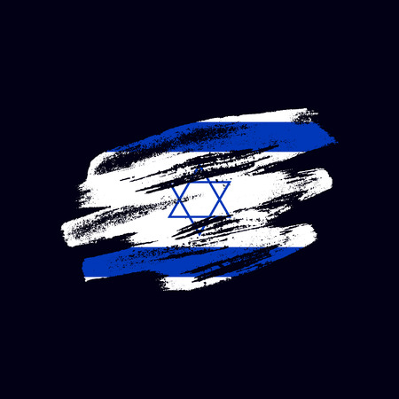 Grunge textured Israeli flag. Vector brush painted flag of State of Israel isolated on dark blue background. Frayed and scratched the national symbol of the Asian country