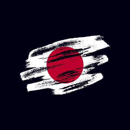 Grunge textured Japanese flag. Vector brush painted flag of Japan isolated on dark blue background. Frayed and scratched the national symbol of the island country
