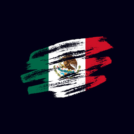 Grunge textured Mexican flag. Vector brush painted flag of United Mexican States isolated on dark blue background. Frayed and scratched the national symbol of the North America country