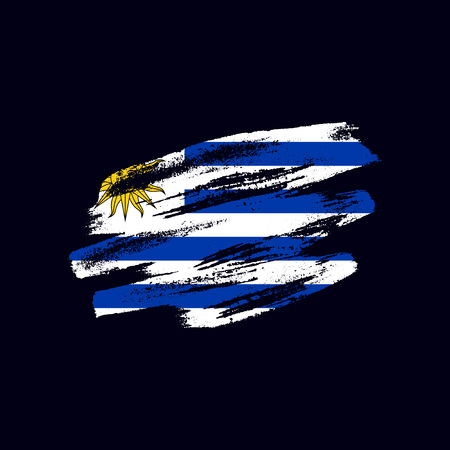 Grunge textured Uruguayan flag. Vector brush painted flag of Oriental Republic of Uruguay isolated on dark blue background. Frayed and scratched the national symbol of the South America country Ilustração