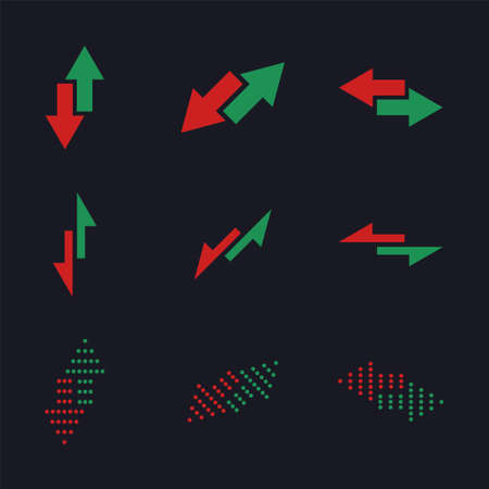 Set of the simple substitution vector icons. Green and red arrows with changing direction. Rise and fall signs. Price changing signals in trading and on exchange. Football (soccer) substitution symbol