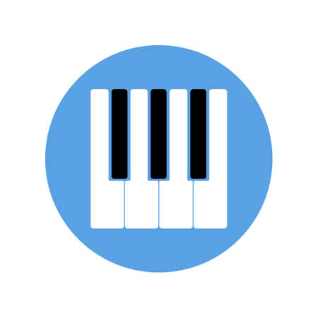 The piano keyboard with white and black keys isolated on sky blue circle.