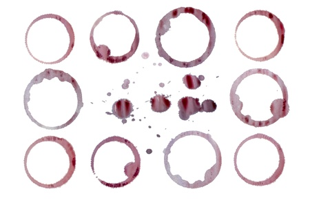 Isolated red wine stains and droplets Stock Photo