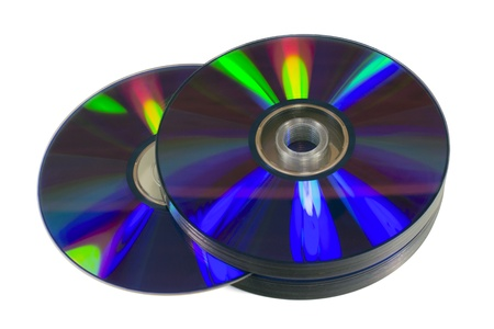 Pile of optical discs  CD, DVD or Blu-ray  isolated on white