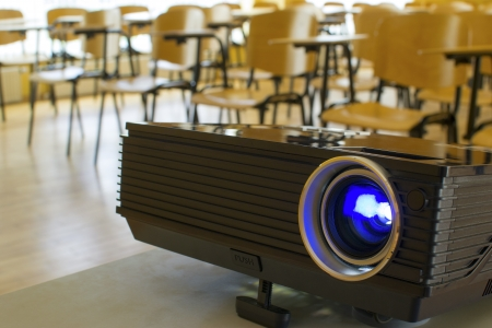 Digital projector in presentation hall or auditorium Stock Photo