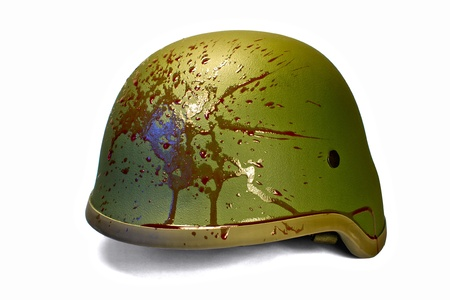 Military or police helmet with blood splattered
