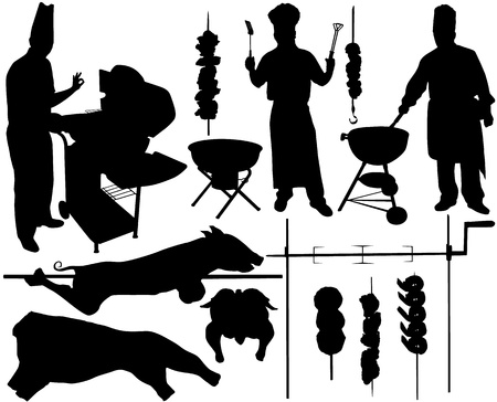 pig roast: BBQ (barbecue) chef, pork, beef, spit, skewer silhouettes