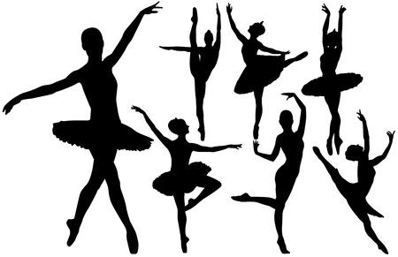 danseuse: Ballet silhouettes f�minines danseurs sur fond blanc
