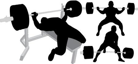 Powerlifting, gewichtheffen of bodybuilding silhouetten Vector Illustratie