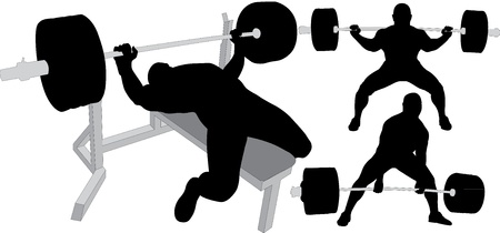 weight weightlifting: Powerlifting, weightlifting or bodybuilding silhouettes Illustration
