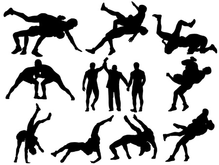 Wrestlers and referee silhouettes on white background Illustration