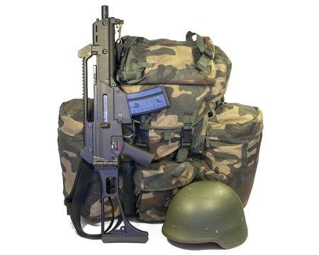 Soldier equipment  automatic rifle, backpack, helmet