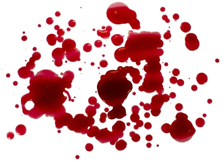 Glossy blood (red paint) droplets (splatters) isolated. Clipping path.