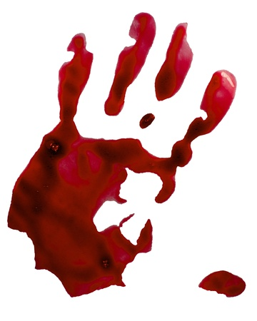 Bloody hand stamp  Isolated on white  Stock Photo - 15425018