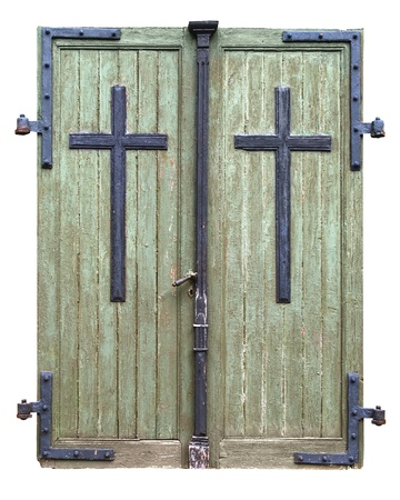 threadbare: Old threadbare double doors to a church built in 1740. Isolated. Clipping path.