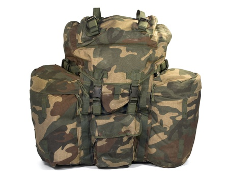 Military backpack isolated on white. Stock Photo - 15584158