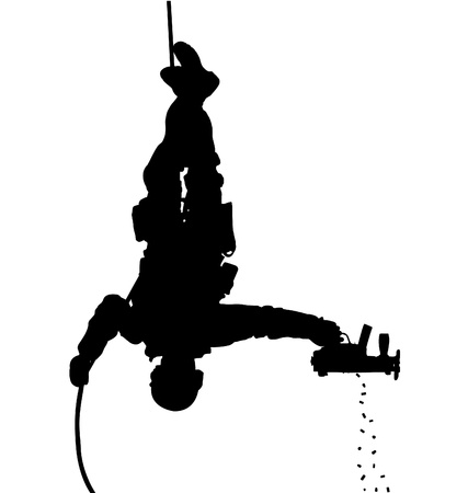 rappel:  silhouette of a policeman shooting while rappelling upside down
