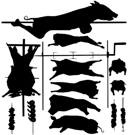 Barbecue  BBQ  related objects  pork, beef, poultry, skewer, spit etc    silhouettes Vector