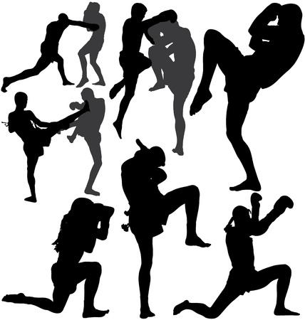 Muay Thai (boxeo tailand�s) y lucha wai kru ram muay (danza tradicional antes de la pelea) Foto de archivo - 16128625