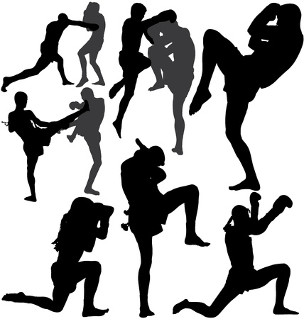 Muay Thai (Thai Boxing) fight and wai kru ram muay (traditional dance before fight)  Vector